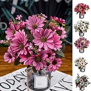 LSTC Flores Artificiales, 9 Ramas 25 Cabezas de crisantemo Artificial, Flores Falsas para el hogar, jardín, Boda, Fiesta…