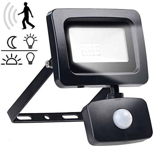 Luminea Außenlampen: Mini-LED-Fluter, PIR-Bewegungssensor, 10 Watt, 800 lm, warmweiß, IP44 (Hofstrahler mit Bewegungsmelder)