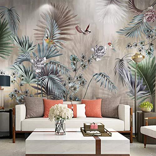 Papier PeintPersonnalisé Taille Classique Art Mural Plante Feuilles Rétro Salon Canapé Tv Fond Mur Peinture Fond D'Écran Pour Chambre Murs 3D, 300 * 210Cm