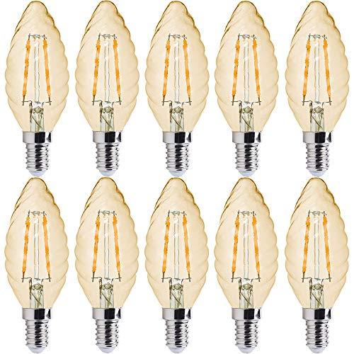 10 x LED Filament Leuchtmittel Windstoß Kerze 2W fast 25W E14 gedreht klar gold gelüstert extra warmweiß 2500K (2 Watt gedreht gold, 10 Stück)