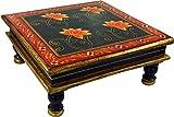 Guru-Shop Petite Table Peinte, Mini Table, Banc à Fleurs - Water Lily Vert Nénuphar/rouge, 16x38x38 cm, Tables Basses