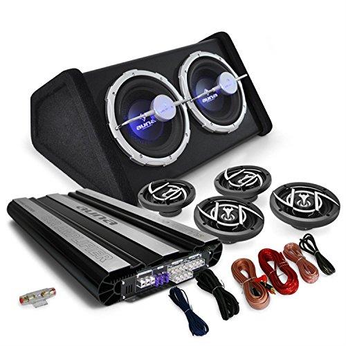 4.1 Auto Lautsprecherset Komplett Hifi Set Black Line 620 10000W Endstufe Verstärker 16cm Boxen Subwoofer