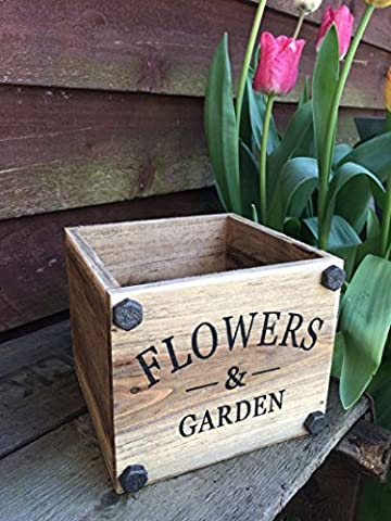 Jardinière carrée en bois Vintage Herbes Ampoules Jardin Plantes Boîte de rangement Fleurs