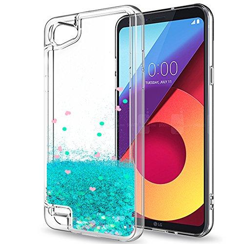 LeYi Hülle LG Q6 / LG Q6+ Glitzer Handyhülle mit HD Folie Schutzfolie,Cover TPU Bumper Silikon Flüssigkeit Treibsand Clear Schutzhülle für Case LG Q6 / LG Q6+ Handy Hüllen ZX Turquoise