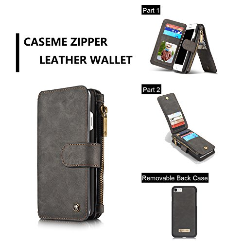 SDDMALL CaseMe Wallet Case für iPhone 7 4,7 Zoll Vintage Leder Multifunktionale magnetische abnehmbare Reißverschluss ( Color : Black ) Black