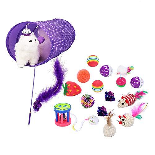 Duk3ichton Katzenspielzeug, 17-TLG. Katzenspielzeug Katzenspielzeug Für Innenkatzen Kätzchen Interaktives Mausspielzeug-Set Für Kätzchen Und Katzen Erdbeerform Spielspielzeug Katze 17 Stück -