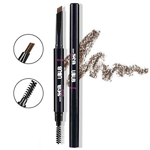 HeyBeauty Augenbrauenstift mit Bürste, Wasserdicht Automatisch Make-up Stift Pinsel (Dunkelbraun-3#)