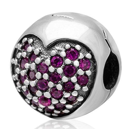 Soulbead in argento Sterling 925Amore della Mia Vita clip charm Bracciale con zirconi pietra per marca Compatibile Fucsia