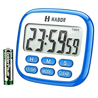 HABOR Digital Kitchen Timer, 24-Hour Timer for Kitchen with Larger LCD Display and Loud Alarm and Countdown Function, Retractable Stand and Hook and Magnetic Backing (Blue with Battery)
