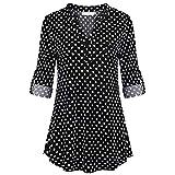 VEMOW Heißer Frauen Damen Sommer Chiffon Kurzarm Freizeithemd Tops Bluse Perfect Tee T-Shirt(Y6Schwarz, EU-44/CN-L)