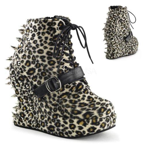 Pleaser  Bravo-23,  Damen Kurzschaft Stiefel Leopard Print Fabric