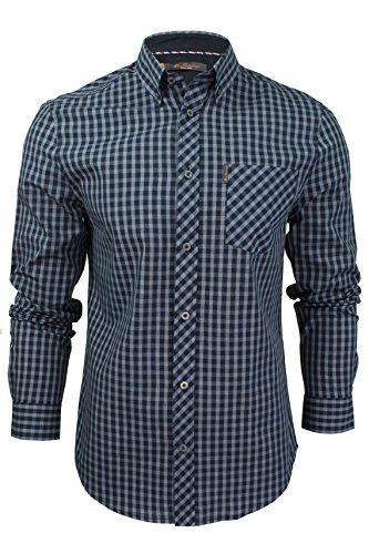 Ben Sherman Herren Freizeithemd - Langarm Kariertes (Mood Indigo) XL (Sherman-hemd Ben)