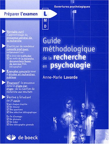 Guide méthodologique de la recherche en psychologie par Anne-Marie Lavarde