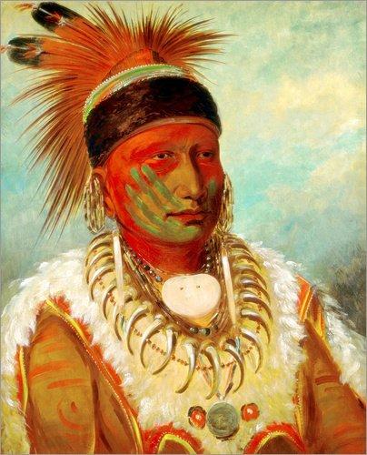 Stampa su acrilico 100 x 120 cm: The White Cloud, Head Chief of the Iowas di George Catlin