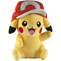 TOMY Pokemon T18981 10-Inch Pikachu Plush Toy with Ash's Hat