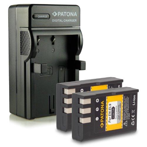 Bundle - 4en1 Cargador + 2x Batería EN-EL9 / EN-EL9a para Nikon D40 | D40x | D60 | D3000 | D5000
