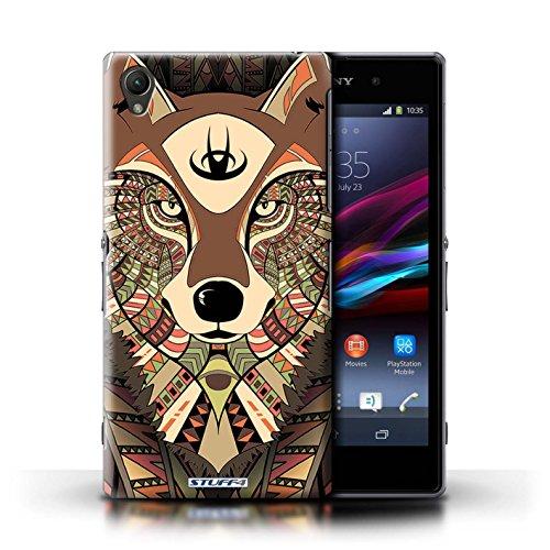 Coque en plastique pour Sony Xperia Z1 Collection Motif Animaux Aztec - Hibou-Mono Loup-Sépia
