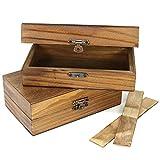 com-four® 2X Schatzkiste aus Holz in braun, Holzbox mit Metall-Verschluss und flexiblen Trenneinsätzen, 14,8 x 8,8 x 5,2 cm (02 Stück - braun)