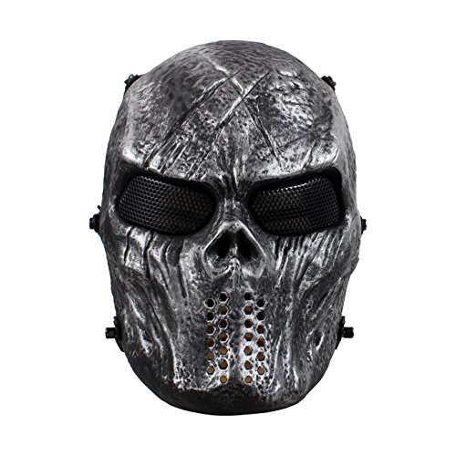 StillCool Maske Halloween Maske Maskerade Karneval Partei Masken Paintball Maske kompletter Schutz (grau) (Catwoman Maske Halloween)
