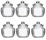 6 Vorratsdosen Große Bonboniere Geriffelt Glas Bonbonglas ca.950 ml | Vorratsglas Vorratsbehälter für Aufbewahrung von Zutaten & Gewürzen