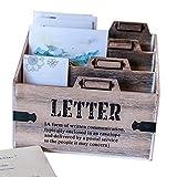 Dszapaci Briefablage Holz Dokumentenhalter Schreibtisch Postablage Büro Briefständer Briefhalter Papierablage Briefbox (G1)