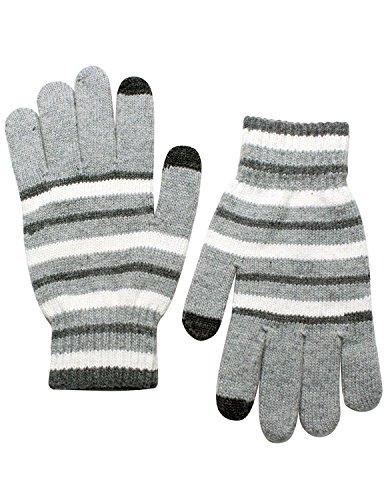Dahlia Unisex Striped Wool Blend Touch Screen Gloves - Light Gray