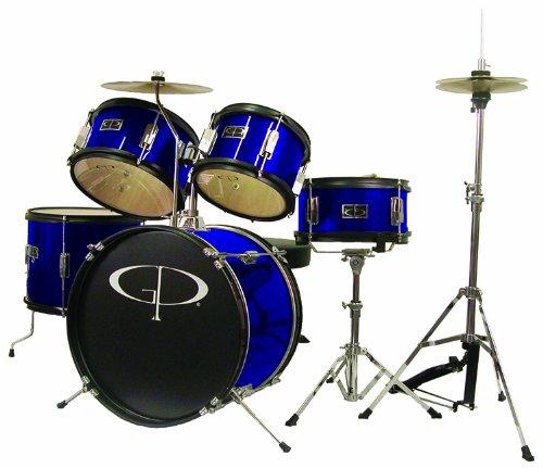 GP Percussion GP55BL Junior Schlagzeug Set mit Becken und Thron, 5-teilig, blau