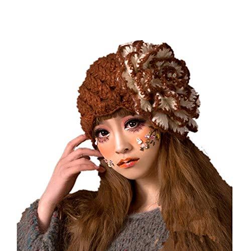 Ohren Kostüm Floppy - YBBDHD Handarbeit HäKeln Stirnband Mit Stein Blume Decorationcap Hut Frauen Winter Warme StrickmüTze Floppy Hut FüR Outdoor-Sportarten