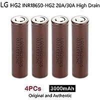 4 x LG HG2 INR18650-HG2 3000mAh 20A/30A Alta Scarico Ricaricabile Li(NiMnCo)O2 Batteria 3.7V Genuine
