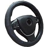 Semoss Coprivolante Auto in vera Pelle con Anti Scivolo blu Line,colore: nero,dimensione:37-38cm
