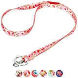 Blueberry Pet Spring Scent Inspired Floral Rose Baby Pink Women Fashion Lanyard Keychain for Keys/ID Card/Badge Holder with Safety Breakaway Release Buckle, 1.25cm × 45cm