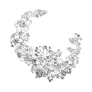 Alxcio Mode Braut Schleier Haarschmuck Haarband Handgemachte Perle Kristall Blume und Blätter Stirnband Hochzeitskleid Party Zubehör