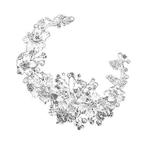 Alxcio Mode Braut Schleier Haarschmuck Haarband Handgemachte Perle Kristall Blume und Blätter...
