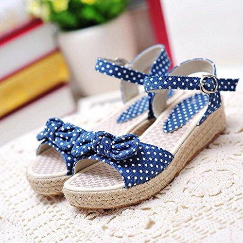 COOLCEPT Femme Mode Sangle de Cheville Sandales Bout Ouvert Chaussures Avec Bow Bleu