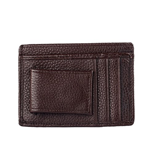 Collection-Cover Slim in pelle, con porta carte di credito, Design-Custodia a flip, finestra per documenti marrone
