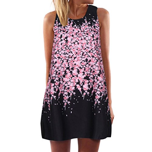 intage Boho Ärmelloses Sommerstrand Rundhals Rock Partykleid Minikleid Blumenkleid T-Shirt Tops Kleider ()