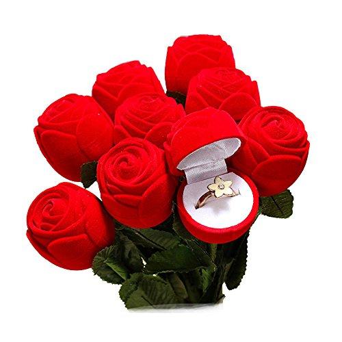 rschlag Ring Box, Schmuckschatulle, Ohrring Ring Schmuck Aufbewahrungsorganisator, Rose Form Design, Perfekte Geschenkbehälter (1 Stück) ()