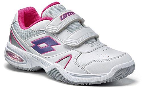 Lotto Stratosphere CL S, Scarpe da Tennis Bambine Bianco Weiss/Violett, (Multicolore), 28
