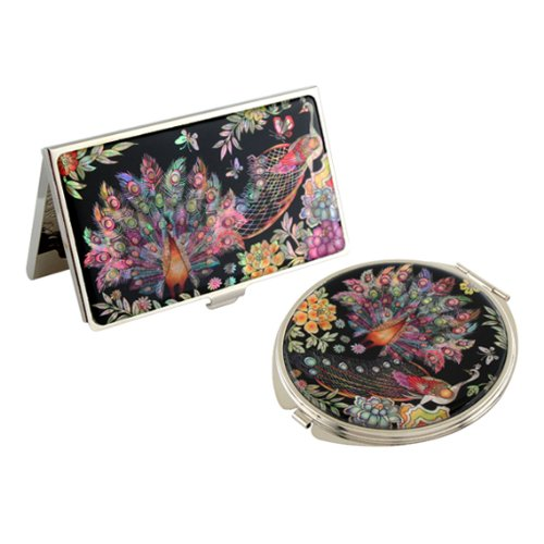 Set Miroir de Poche + Porte carte de visite Nacre Collection Animal PAON COLORE