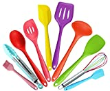 10pcs Silicone Kitchen Utensils - Silicone Cooking Set - Tongs, Whisk, Brush, Spatula, Slotted Spoon, Noodle Spoon, Rice Paddle, Slotted Spatulla, Soup Spoon ,Heat Resistant Cooking Utensil, BPA Free silicone kitcen tool set (Colorful)