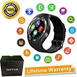 Sepver Smartwatch SN05 Round Smart Watch contapassi fitness tracker con slot per SIM Card TF chiamate notifiche per iOS Android Samsung Huawei Sony LG HTC Google uomo donna bambini Ragazzi ragazze (Nero)