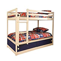 Boys Slide Storage Wooden Bunk Bed in White with Blue Sliding Doors & 2 Basic Budget Mattresses