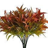 L&Z 10 Stück Künstliche Pflanzen Gefälschte Plastik Büsche Zweige Kunststoff Künstlich Sträucher Tabelle Blumenarrangements Zuhause Küche Amtsstube Sprungfeder Deko Rot