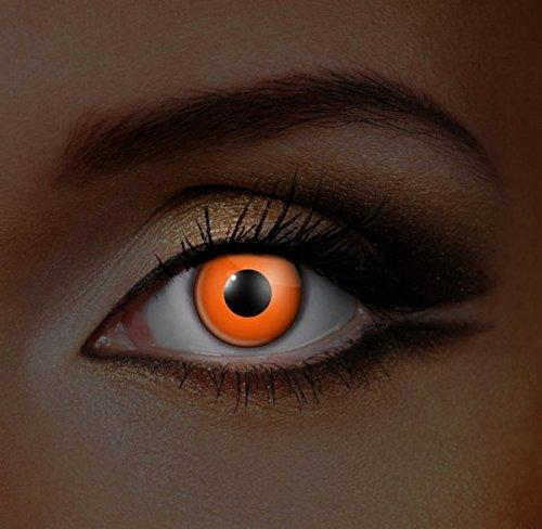 Funky Vision Kontaktlinsen I-Glow - 3 Monatslinsen, Orange UV, Ohne Sehstärke, 1 Stück
