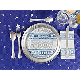 [Pack oferta] Kit de vajilla desechable elegante con decoración de mesa para navidad ideal para fiestas – Azul y Plata – 10 personas