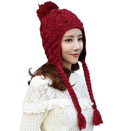 SIGGI weinrote Wolle warme Beanie Mütze Strickmütze für Damen gestrickte Kable Mütze mit Pompom Wintermütze verschiedene (Mütze Peruanische)