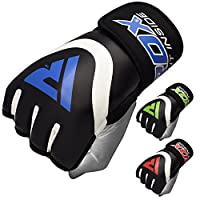 RDX Boxing Inner Gel Gloves under Hand Wraps MMA Fist knuckle Protector Muay Thai Fist Bandages Maya Hide leather Padded Mitts,Blue,Medium