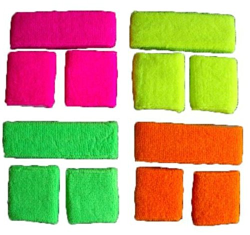 4 x Sweatband Sets in Neon Pink, Yellow, Green and Orange. Ideal for Groups