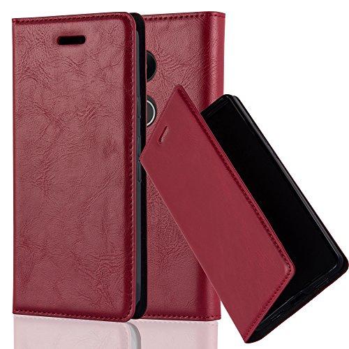 Preisvergleich Produktbild Cadorabo Hülle für LG Nexus 5X - Hülle in Apfel ROT – Handyhülle mit Magnetverschluss,  Standfunktion und Kartenfach - Case Cover Schutzhülle Etui Tasche Book Klapp Style