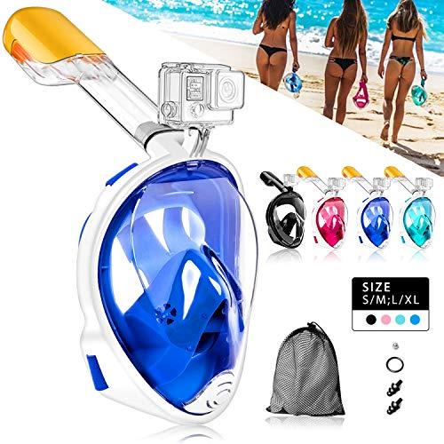 HINATAA Masque de Plongée, Snorkeling Masque Plongée Anti-Fog Full Face 180°Vue Panoramique, Anti-Buée Anti-Fuite pour Enfants et Adultes,avec Support de Caméra GoPro (Bleu, L/XL)